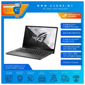"Asus ROG Zephyrus G14 GA401II HE051T Gaming Laptop - 14"", R7-4800HS, 2.9GHz, 8GB, 512GB SSD, GTX1650TI, Win 10 (Regular, Eclipse Grey)"