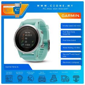 Garmin Fenix 5s 42mm Multisport GPS and Wirst-Based Heart Rate Smartwatch (Frost Blue ToneSapphire With Frost Blue)
