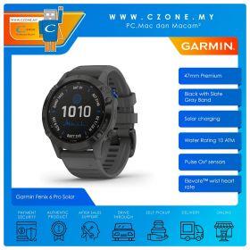 Garmin Fenix 6 Pro Solar 47mm Premium Multisport GPS Wearable Device (Black with Slate Gray Band)