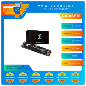 Gigabyte Aorus Gen4 500GB M.2 2280 NVMe SSD (R: 5000Mbps, W: 2500Mbps, w/o Heatsink)