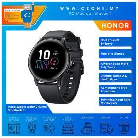 Honor Magic Watch 2 42mm Smartwatch (Agate Black, Black Fluoroelastomer Strap)
