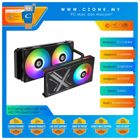 ID-Cooling Iceflow 240 VGA AIO CPU Liquid Cooler (AMD, Intel, 2x 120mm Fan, ARGB)