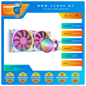 ID-Cooling Pinkflow 240 Diamond Purple AIO CPU Liquid Cooler (AMD, Intel, 2x 120mm Fan, ARGB)
