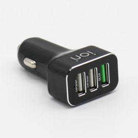 ION CQ7BB Car Charger (2x USB, 1x USB QC 3.0, Black)
