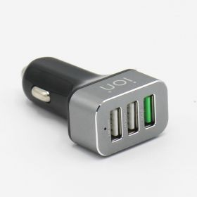 ION CQ7BT Car Charger (2x USB, 1x USB QC 3.0, Black Gray)