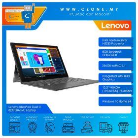 "Lenovo IdeaPad Duet 3 82AT00A3MJ Laptop - 10.3"", Pentium Silver N5030, 1.1GHz, 8GB, 256GB SSD, UHD, Win 10 (Graphite Grey)"