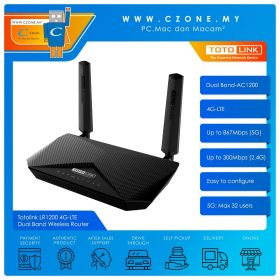 Totolink LR1200 4G-LTE Dual Band Wireless Router (Dual Band-AC1200, 4G-LTE)