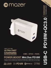 Mazer Power.Boost Mini.Duo PD + QC 3.0 Wall Charger