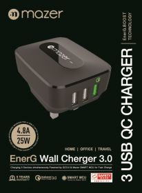 Mazer EnerG Wall Charger 3 Port USB + Qc 3.0 (Black)
