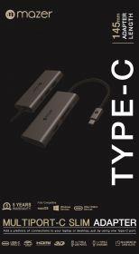 Mazer Multiport USB-C 7-in-1 Slim Adapter Grey