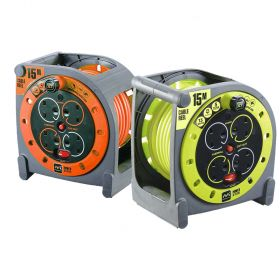 Masterplug HMU15134SL Case Cable Reel Orange (4x UK Sockets, 13A 240V, 15M)