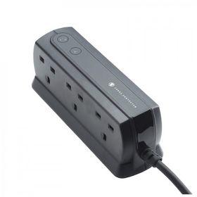Masterplug SRGD62MB-MPA 6 Surge Protector (6x UK Sockets, Black)