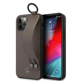 Mercedes Benz Leather Back Case With Hand Strap iPhone 12 Series Brown