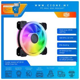 Cooler Master MF120 S3 ARGB Case Fan (1x 120mm, 4-pin, ARGB, Black)