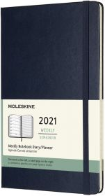 Moleskine 12 Months Weekly Large Hard Cover Notebook (Blue)