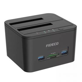 "Fideco MR192BK Dual Docking Station (Dual Dock 2.5""/3.5"", USB 3.0 Hub x 2, SD Card Reader)"