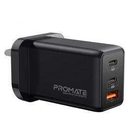Promate GanPort3 65w Wall Charger (2x USB-C, PD, QC3.0)