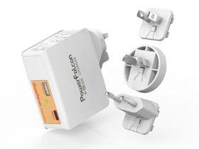 PowerFalcon Travel Adapter (2x USB, 1x USB-C, Interchangeable AC Plug, 25 Watts)