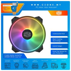 Cooler Master MasterFan MF200R ARGB Case Fan (1x 200mm, 4-pin, ARGB, Black)