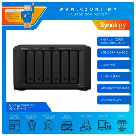 Synology DiskStation DS1618+ NAS (6-bay, QC 2.1GHz, 4GB, GbE x4, Diskless)