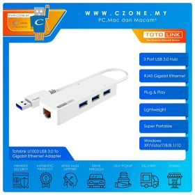 Totolink U1003 USB 3.0 To Gigabit Ethernet Adapter (3 Port USB 3.0 Hub)