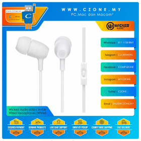 Wicked Audio 600cc In-Ear Wired Headphones (White)(Clearance, 6-Months Warranty)
