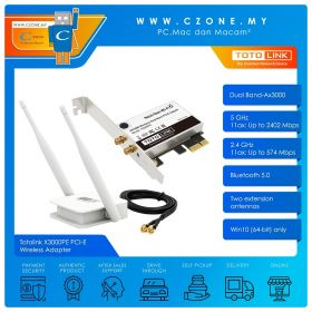 Totolink X3000PE PCI-E Wireless Adapter (Dual Band-Ax3000, Extension Antennas)